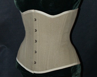 Earth Tone Underbust Training Corset with Busk Front Closure