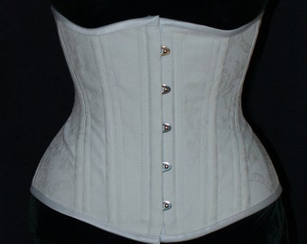 White Underbust Training Corset with Busk Front Closure