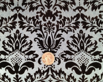 Damask Pattern Flocked Velvet on Light Blue Denim Fabric-By-The-Yard