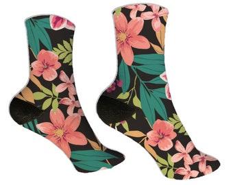 Mens Novelty Hawaiian Floral Hibiscus Socks