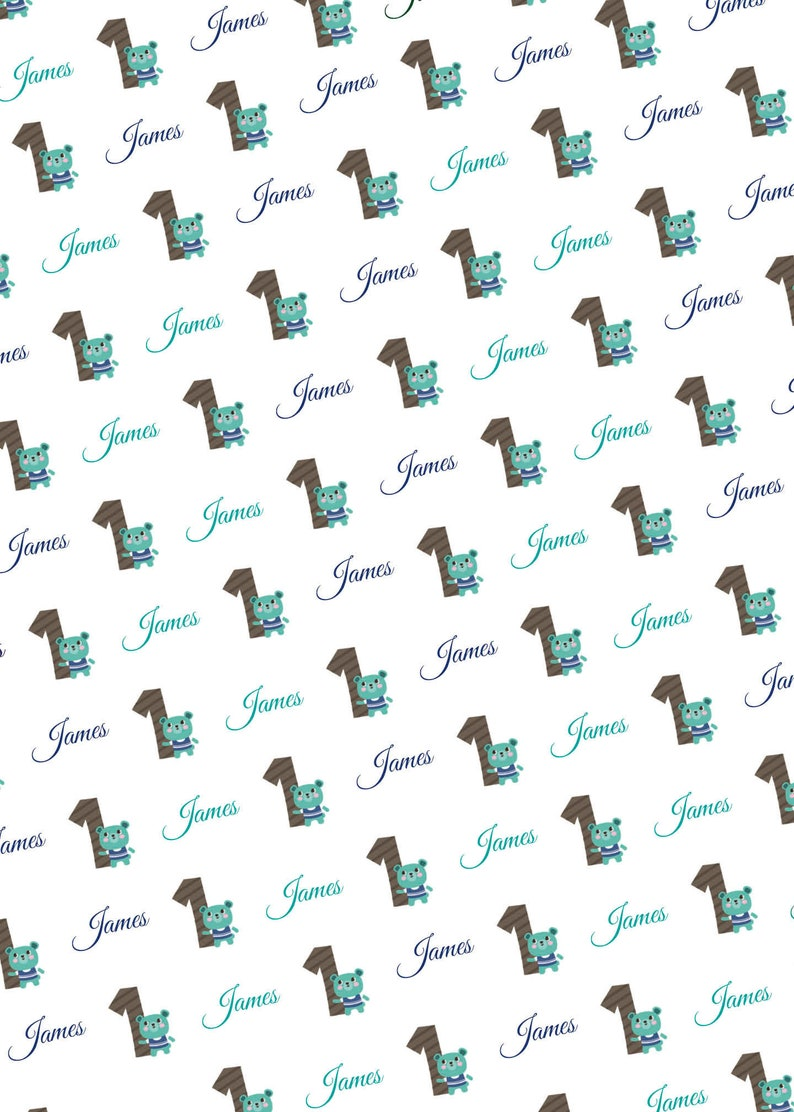 1st Birthday Bear Wrapping Paper Personalized