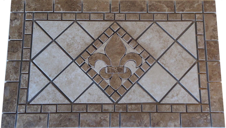 Charro Porcelain Tile Fleur Dis Lis Mosaic Medallion Etsy
