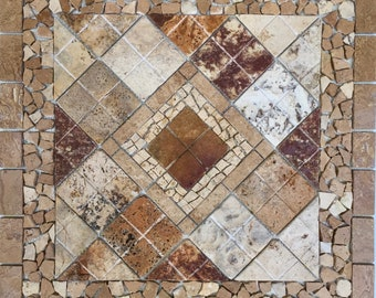Scabos Marble Travertine Tile Mosaic Medallion Backsplash Wall Floor Accent Decor Design