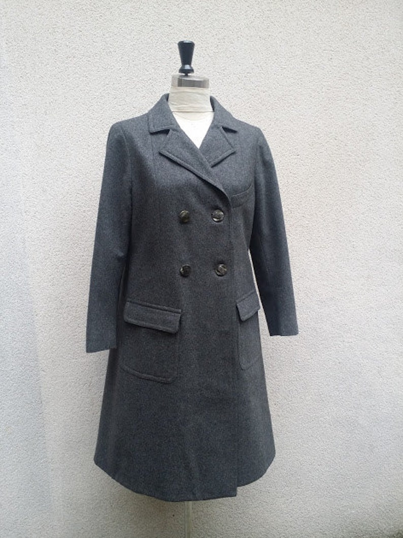double breast four buttons color Gray mouse 70/'s wool frock coat Georges Rech 34 length classic elegantissimo!
