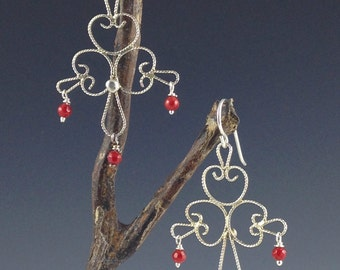 Filigree Chandelier with Red Coral