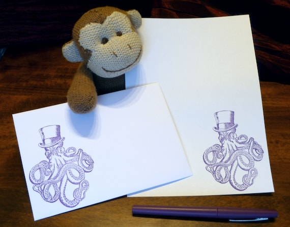 Lord Octopus Stationery Set Octopus Quirky Present Gift Sea Letter Writing Set Steampunk Writing Paper with matching premium envelopes