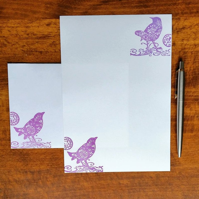 Lovebirds Letter Writing Set Beautiful Gift Present Love Stationery Set Purple Birds Writing Paper with premium matching envelopes