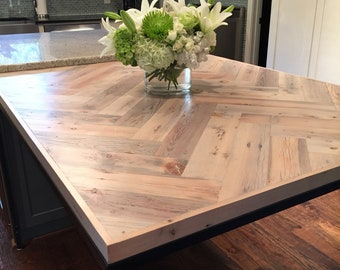 Reclaimed Pine Double Herringbone Dining Table -- Other Options Available