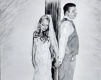 Custom made wedding drawing-16X20-EXAMPLE ONLY