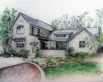"Custom made house drawing-8""x10""-Example Only"