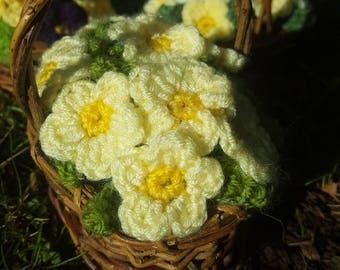 Primrose Flower Basket - Handmade Crochet Pale Yellow Primrose Flowers in Wicker Basket - Christmas Gift, Birthday Flowers, Thank you