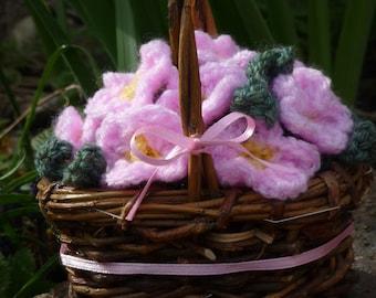 Crochet Flowers in Wicker Basket - Handmade Crochet Pale Pink Primrose Flowers with Yellow Centres in a Small Wicker Basket