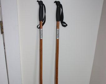 89a7fc25 Vintage Nordic Bamboo Ski Poles, 4 foot Bamboo Ski Poles, Nordic Vintage Ski  Equipment