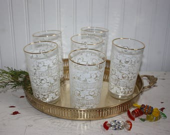 6 Vintage Glass Tumblers, Gold Trim Glass Tumblers, Vintage Glasses, White Pattern with Gold Edges, Leaves, Berries, Lines, Fancy Tumblers