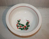 Homer Laughlin Fiesta Ware Christmas Bowl, White Serving Bowl with Green and Red Holly and Ribbon