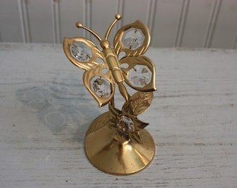 Vintage Gold Plated and Austrian Crystal Angel Holding a Child Baby by Mascot USA