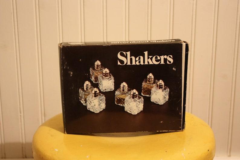 Silverplate Holiday Tableware Leonard Silver Salt Shakers Eight Individual Salt Shakers Mid Century Salt and Pepper Pressed Glass