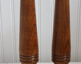 Wood Candleholder Pair,  Oak, Mission Style Candleholders, Wood, Arts and Crafts Candleholders, Mid Century, Mission Style Oak Candleholders