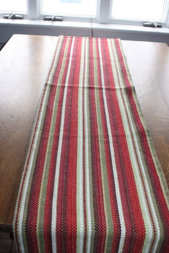 Crate And Barrel Red And Green And White Navidad Stripe Cotton 108 Inch Table Runner