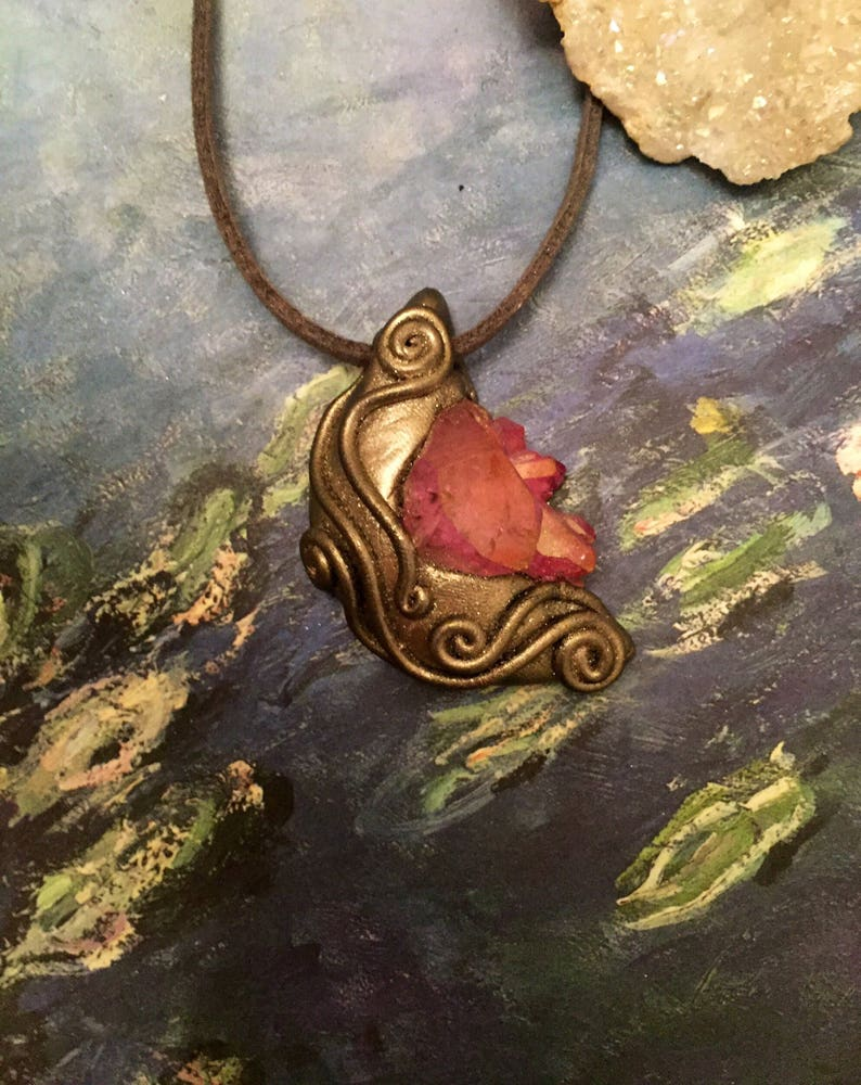 Half Moon Jewelry Crescent Moon Phase Pendant in Rose or Indigo Aura Quartz Once in a Blue Moon