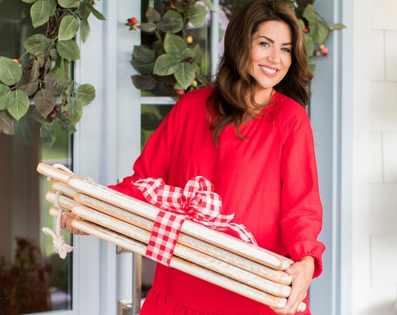 JILLIAN HARRIS X ETSY Holiday Collection Charcuterie Board or Serving tray, this stunning white display or food prep board