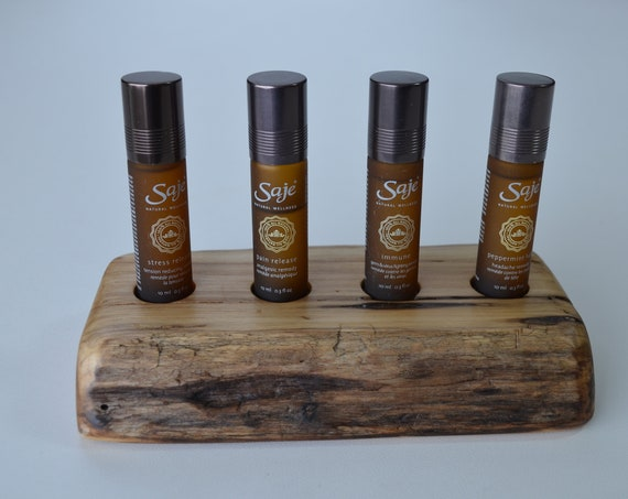 Essential Oil Display stand, beautiful way to showcase your wellness oils on a handcrafted wood oil holder, driftwood, four hole