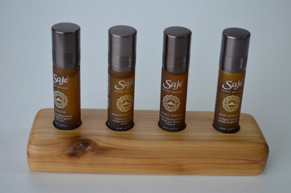 Essential Oil Display stand, beautiful way to showcase your wellness oils on a handcrafted wood oil holder, cedar four hole