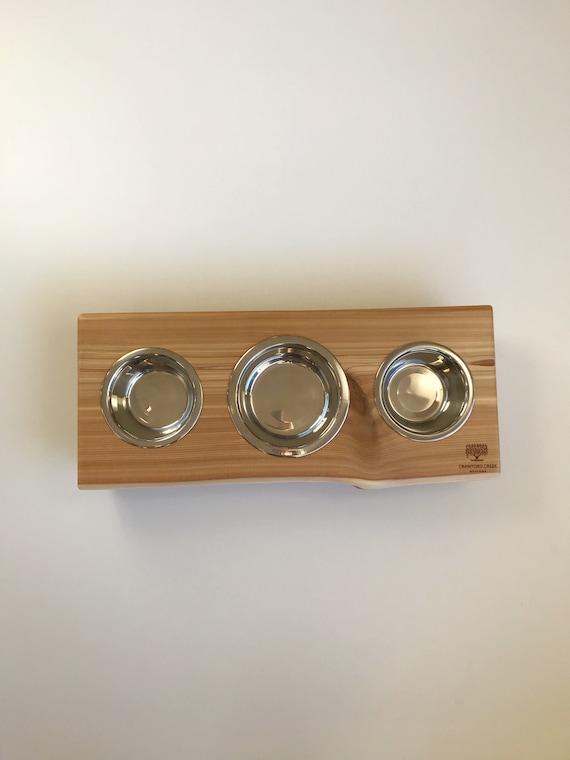 Pet feeding station, small dog food stand complete with water bowl. Dog dish stand with water bowl.
