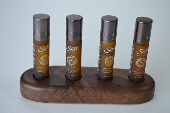 Essential Oil Display stand, beautiful way to showcase your wellness oils on a handcrafted wood oil holder, walnut, four hole