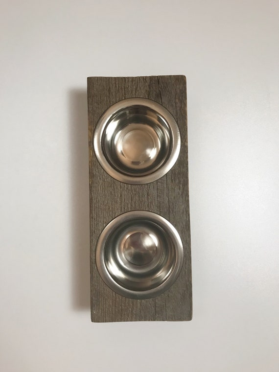 Cat dish stand,Rustic wood cat or puppy dish stand crafted from reclaimed fir with two stainless steel pet bowls. Perfect for even small dog