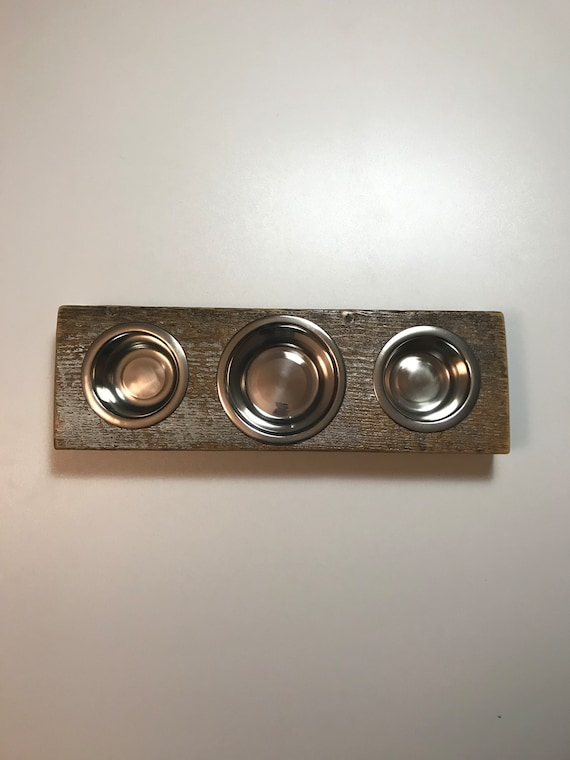 """Cat bowl or puppy dish stand, """"Mini Three Pals"""" crafted from a reclaimed barn board. This cat dish feeding station comes with three bowls."""