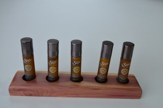 Essential Oil Display stand, beautiful way to showcase your wellness oils on a handcrafted wood oil holder, red cedar, five hole