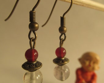 2240 - Earrings Carnelian and Crystal
