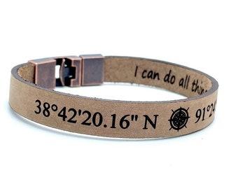 Men's Bracelet Personalized Bracelet Custom Leather Bracelet Engraved Men Leather Bracelet Christmas Gifts For Him Valentine's Gifts For Men