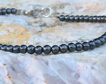 FREE SHIPPING-Men's Hematite Bracelet,Stainless Steel, Men's Beaded Bracelet,Mens Minimalist Bracelet,Mens Small Bracelet,Bracelets For Men