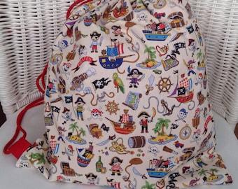 Child's drawstring bag with handle. Fun pirate print.