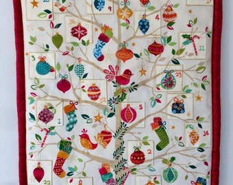 Advent calendar - tree with baubles, birds and Christmas stockings