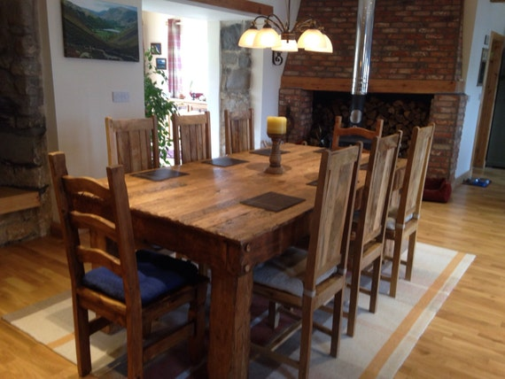 Rustic Handmade Dining Table Made From Old French Oak Etsy
