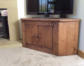 Rustic Corner tv unit made from reclaimed french oak!