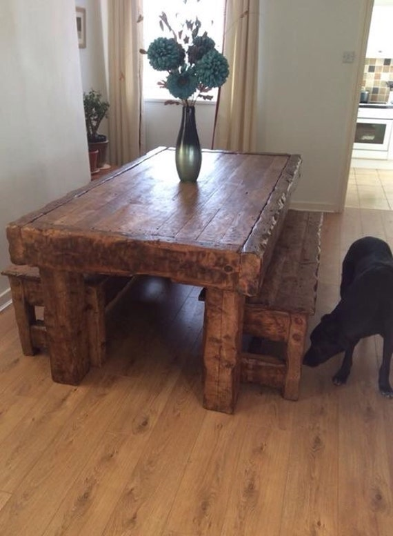 Miraculous Rustic Handmade Oak Dining Table 2 Benches Made From Old Reclaimed Hardwood Gmtry Best Dining Table And Chair Ideas Images Gmtryco