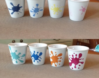 set of 4 Mini mugs porcelain hand painted coffee stains