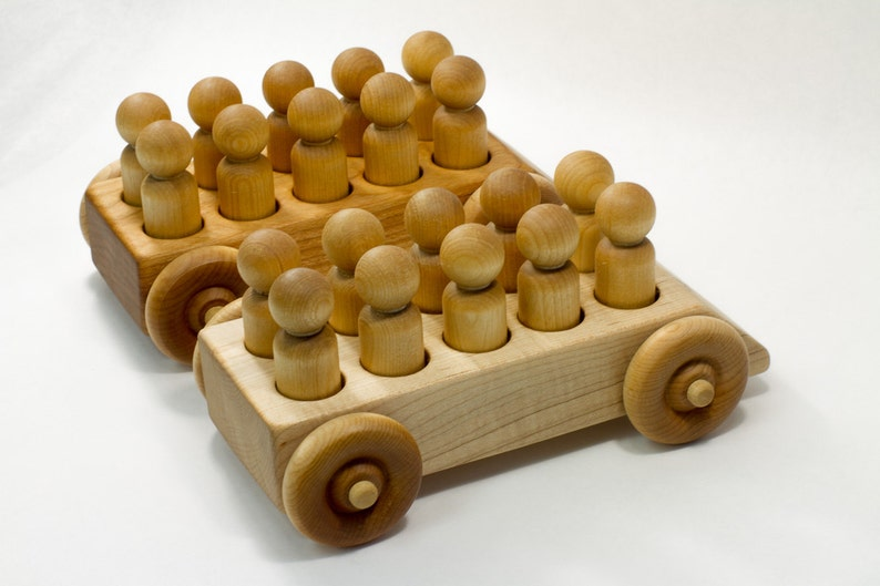 The Big Bus Waldorf Inspired Wooden Toy Truck With Ten Peg People