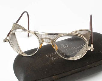 3d4485009 Vintage American Optical AO Protective Eyeglasses With Metal Case  Collectible Industrial Safety Eyewear Glasses Steampunk Motorcycle Decor