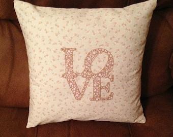 LOVE applique cushion, love pillow, love cushion