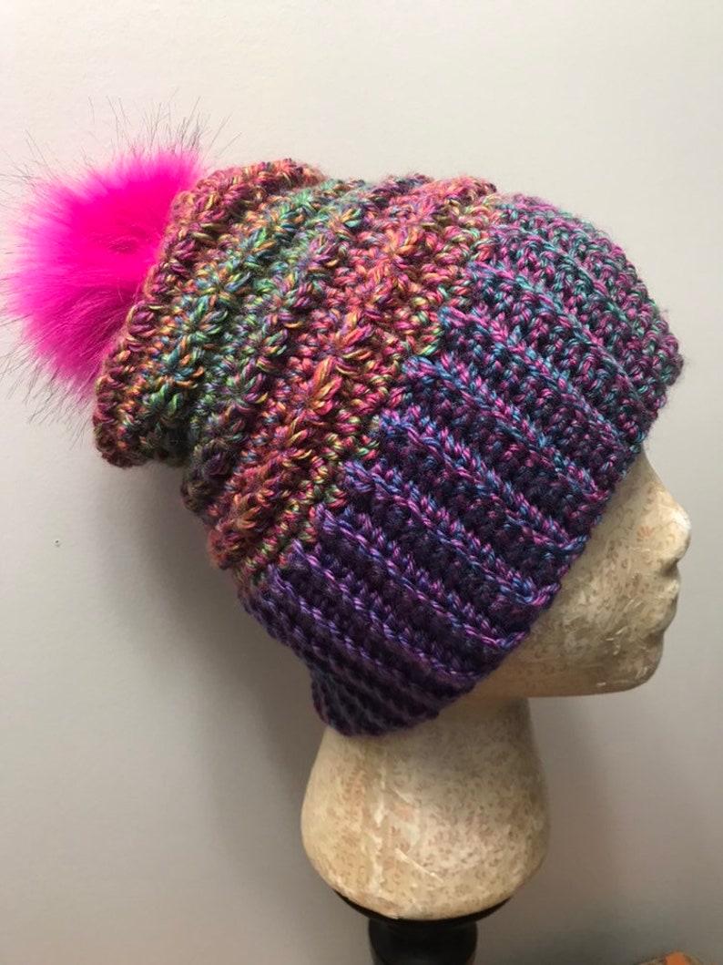 Crochet Ladies Faux Fur Pom Pom Hat