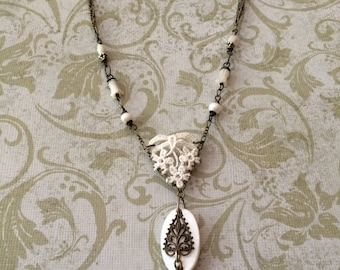 lace, shell and brass necklace