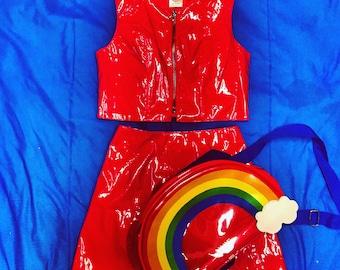 90s vintage American Girl red vinyl two piece coordinate set