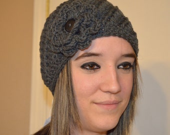Crocheted Spiral Cloche Hat with Flower - Removable Flower - Charcoal Gray - Cornbread yellow
