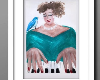 Downloadable print PIANO LADY