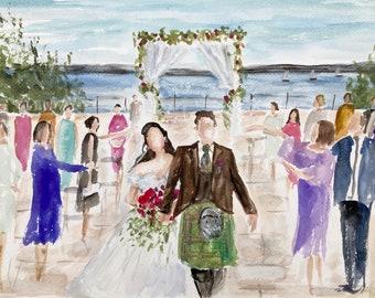 live WEDDING PAINTING  , uk wedding artist ,painting, bride and groom portrait , wedding venue commission